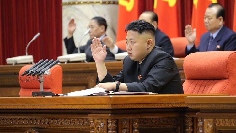 Le dirigeant nord-coréen Kim Jong-Un, le 31 mars 2013. (KCNA VIA KNS / AFP)