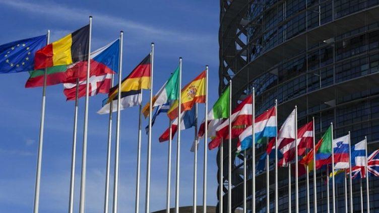 Drapeaux devant la Commission Européenne.