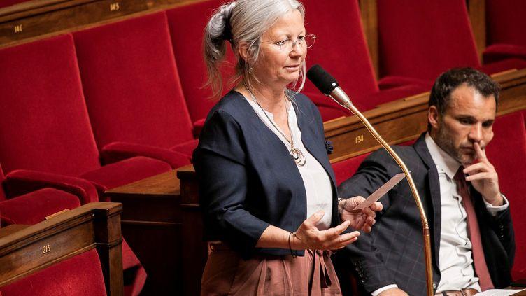 La députée Agnès Thill lors d'une séance de questions au gouvernement, le 5 mai 2020 à l'Assemblée nationale. (ROMAIN GAILLARD / AFP)