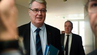 Jean-Paul Delevoye, lors d'une réunion sur la réforme des retraites, à Paris, le 9 décembre 2019. (DOMINIQUE FAGET / AFP)
