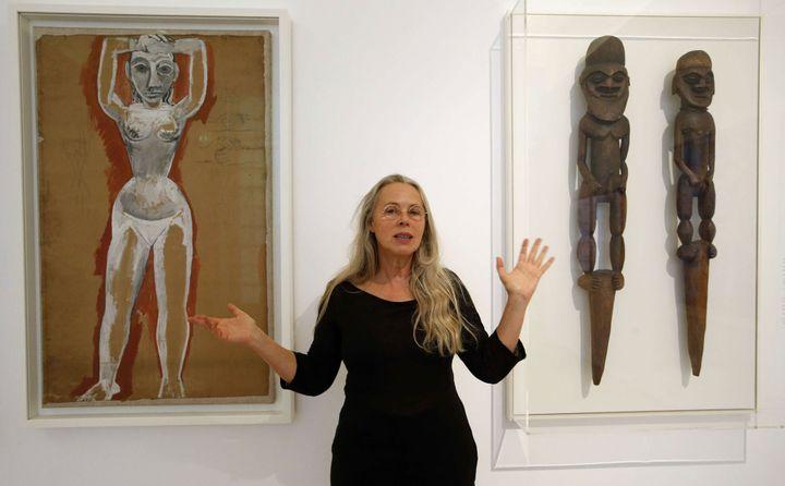 Anne Baldassari présente à la presse l'accrochage du Musée Picasso rénové (18 octobre 2014). Etudes pour les Demoiselles d'Avignon.  (François Mori / AP / SIPA)