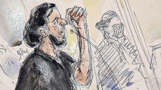 Salah Abdeslam, principal accusé du procès des attentats du 13-Novembre, le 8 septembre 2021, au tribunal de Paris. (BENOIT PEYRUCQ / AFP)