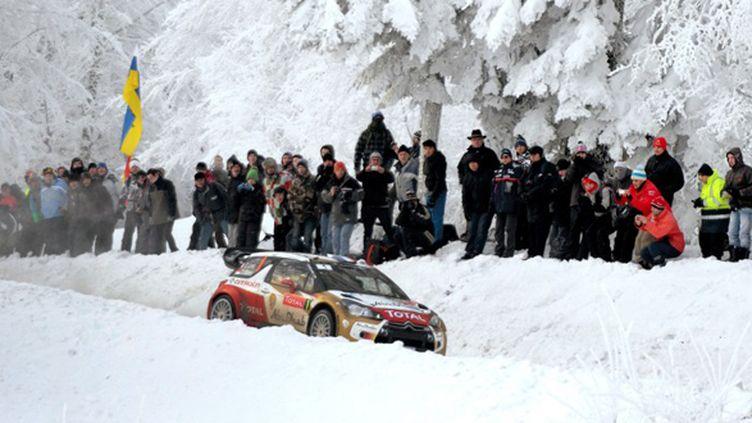 Sébastien Loeb dans les décors enneigés du Vercors lors de l'ES 11