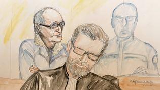 Francis Heaulme dans le box des accusés aux assises de Metz, lors de son procès, en avril 2017. (ELISABETH DE POURQUERY / FRANCEINFO)