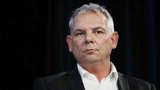 L'ancien secrétaire général de la CGT, Thierry Lepaon, lors d'un forum sur l'emploi et la compétitivité, le 7 avril 2014, à Paris. (PATRICK KOVARIK / AFP)
