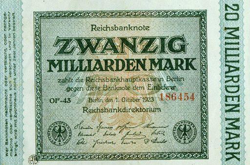 Billet allemand de 20 milliards de marks émis pendant la période de l'inflation en 1923 (AFP - ALFREDO DAGLI ORTI / THE ART ARCHIVE / THE PICTURE DESK)