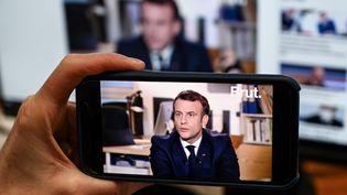 L'interview du président Emmanuel Macron sur Brut, le 4 décembre 2020. (BERTRAND GUAY / AFP)