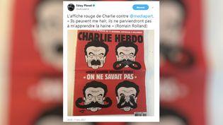 """Capture d'écran d'un tweet d'Edwy Plenel répondant, le 7 novembre 2017, à """"Charlie Hebdo"""". (TWITTER / FRANCEINFO)"""