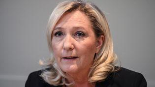 Marine Le Pen, présidente du Rassemblement national, lors d'une conférence de presse à Nîmes (Gard), le 14 février 2020. (PASCAL GUYOT / AFP)