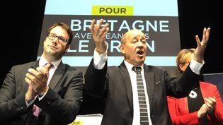 Le ministre de la Défense socialiste, Jean-Yves Le Drian, le 12 décembre 2015, à Rennes (Ille-et-Vilaine). (MAXPPP)
