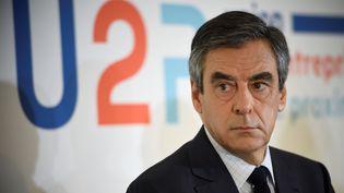 François Fillon participe à une conférence de presse à Paris, le 16 mars 2017. (ERIC FEFERBERG / AFP)