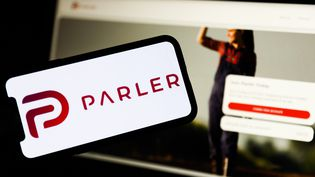 Le logo de l'application Parler, le 10 janvier 2021. (JAKUB PORZYCKI / NURPHOTO / AFP)