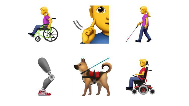Des émojis créés par Apple montrant des personnages en situation de handicap, dévoilés vendredi 23 mars 2018. (APPLE / EMOJIPEDIA)