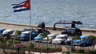 """Tournage du film """"Fast and furious"""" à La Havane, à Cuba le 28 avril 2016. (ROLANDO PUJOL / EFE)"""