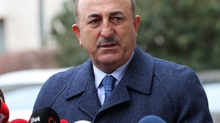 Le ministre turc des Affaires étrangères, Mevlut Cavusoglu, à Ankara le 25 janvier 2021 (ADEM ALTAN / AFP)