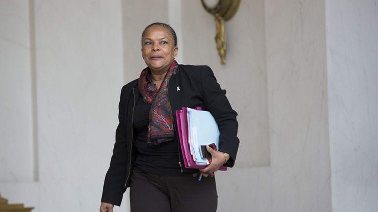 (Christiane Taubira, ministre de la Justice, à l'Elysée, le 25 novembre 2015 © Maxppp)