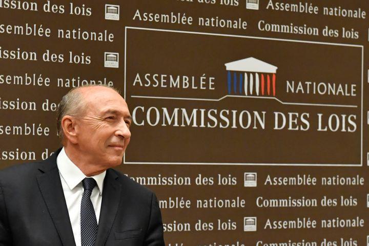 Le ministre de l'Intérieur, Gérard Collomb, devant la commission des lois de l'Assemblée nationale, le 23 juillet 2018. (GERARD JULIEN / AFP)