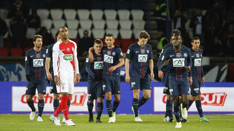 Les joueurs du PSG face à Monaco en Coupe de France (GEOFFROY VAN DER HASSELT / NURPHOTO)