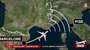 Animation montrant la trajectoire minute par minute de l'avoion allemande avant le crash, le 24 mars 2015 sur les Alpes ( FRANCE 2 / PSA)