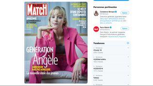 Capture d'écran du tweet deConstance Benqué, directrice générale de Largardère News, partageant la une du magazine Paris-Match paru le 12 mars 2020. (PARIS-MATCH / TWITTER)
