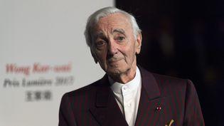 Charles Aznavour à la Fête des Lumières de Lyon, le 20 octobre 2017. (ROMAIN LAFABREGUE / AFP)