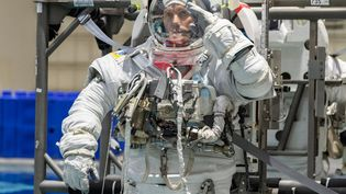 Le Français Thomas Pesquet en scaphandre lors d'une séance d'entraînement, à Houston (Texas, Etats-Unis), le 19 juin 2020. (BILL STAFFORD / NASA / AFP)