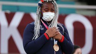 Romane Dicko, médaillée de bronze en judo aux Jeux olympiques de Tokyo. (JACK GUEZ / AFP)