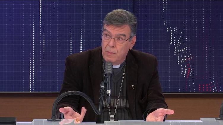 """Monseigneur Michel Aupetit, archevêque de Paris était l'invité du """"8h30 franceinfo"""", lundi 2 novembre 2020. (FRANCEINFO / RADIOFRANCE)"""