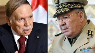 Le président algérien Abdelaziz Bouteflika (en 2016) et le chef d'état-major de l'armée algérienne Ahmed Gaid Salah (en 2014). (ERIC FEFERBERG / AFP)