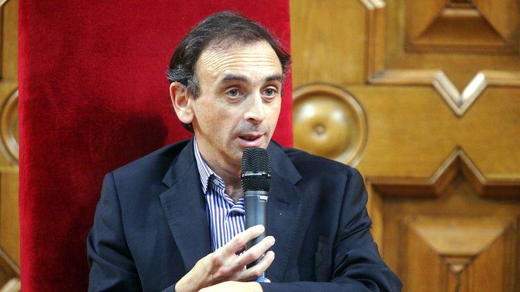 Eric Zemmour le 13 mars 2012 lors d'une conférence au centre universitaire méditerranéen de Nice (Alpes-Maritimes). (CYRIL DODERGNY / MAXPPP)