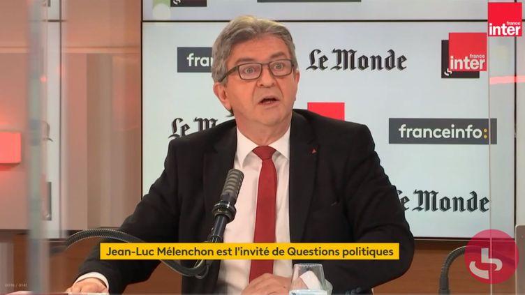 """Jean-Luc Mélenchon invité de """"Questions politiques"""", le lundi 7 juin 2021. (FRANCEINFO / RADIOFRANCE)"""
