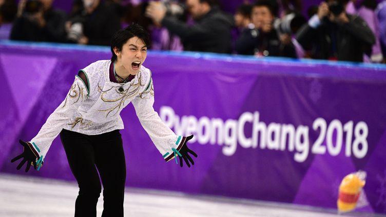 Yuzuru Hanyu lors de son programme libre aux JO 2018. (ROBERTO SCHMIDT / AFP)