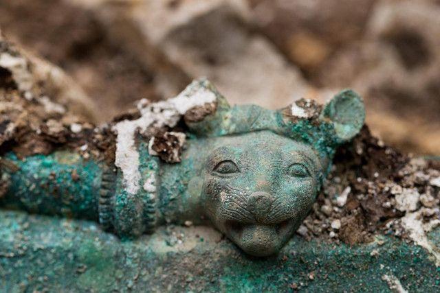 Détail de la tête de félin ornant le bord du chaudron en bronze découvert à Lavau (Aube) en 2015.