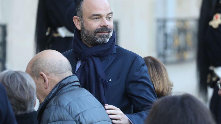 Edouard Philippe, le 6 janvier 2020 sur le perron de l'Elysée, pour le premier Conseil des ministres. (LUDOVIC MARIN / AFP)
