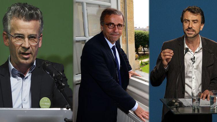 Emmanuel Denis, Pierre Hurmic etGrégory Doucet, nouveaux maires écologistes de Bordeaux, Tours et Lyon. (Guillaume Souvant/SIPA - Mehdi Fedouach/AFP - Bony/SIPA)
