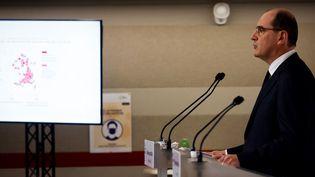 Le Premier ministre Jean Castex lors d'une conférence de presse à Matignon, à Paris, le 22 octobre 2020. (LUDOVIC MARIN / POOL)