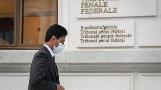 Nasser Al-Khelaïfi à son arrivée au Tribunal Fédéral suisse pour le procès FIFA (FABRICE COFFRINI / AFP)