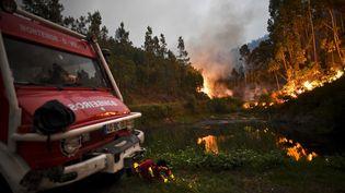 Un camion de pompiers à proximité des flammes, dans la région Leiria (Portugal), le18 juin 2017. (PATRICIA DE MELO MOREIRA / AFP)