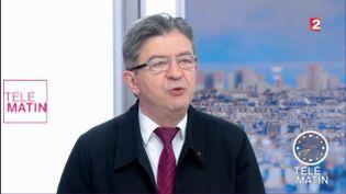 Jean-Luc Mélenchon, leader de la France insoumise, sur France 2, le 31 mai 2017. (FRANCE 2)