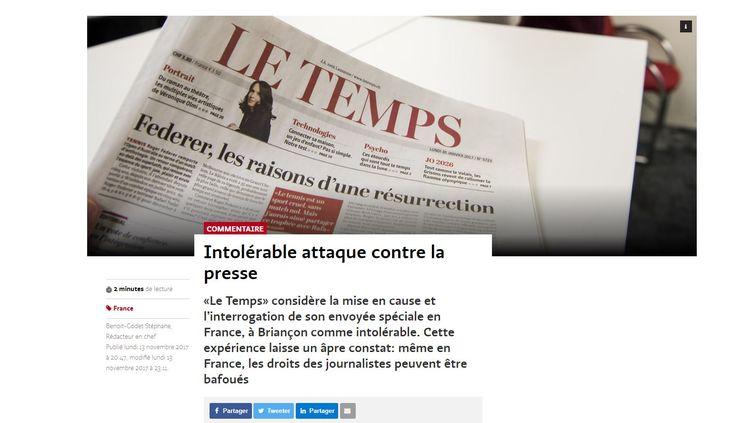"""Capture d'écran de l'éditorial du """"Temps"""" dénonçant l'interrogatoire de sa journaliste. (LE TEMPS)"""