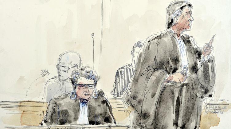 Croquis d'audience représentant les avocates de Matthieu, Joelle Diez et Isabelle Mimran, au tribunal du Puy-en-Velay, le 18 juin 2013. (BENOIT PEYRUCQ / AFP)