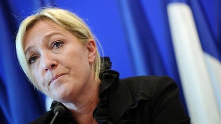Marine Le Pen, lors d'une conférence de presse le 13 avril (AFP - MIGUEL MEDINA)