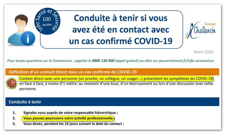 Extrait des conduites à tenir issues d'une note de service interne au groupe Challancin. (CELLULE INVESTIGATION DE RADIOFRANCE)