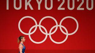 Anaïs Michel, septième des Jeux olympiques de Tokyo en haltérophilie le 24 juillet 2021, est rentrée deux jours plus tard à Paris. (VINCENZO PINTO / AFP)