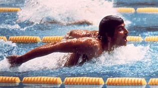 Mark Spitz en finale du 200m papillon lors des JO de Munich en 1972. (STAFF / DPA/AFP)