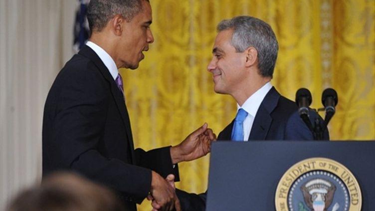 Rahm Emanuel avec Barak Obama lors de son départ de la Maison Blanche (1/10/2010)