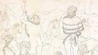 """Une image extraite de """"L'Enfer de Dante illustré par Botticelli"""".  (Saisie écran / Editions Diane de Selliers)"""