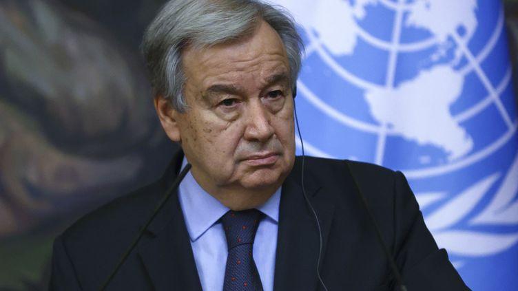 Le secrétaire général des Nations unies, Antonio Guterres, lors d'une conférence de presse à Moscou (Russie), le 12 mai 2021. (RUSSIAN FOREIGN MINISTRY PRESS O / ANADOLU AGENCY / AFP)
