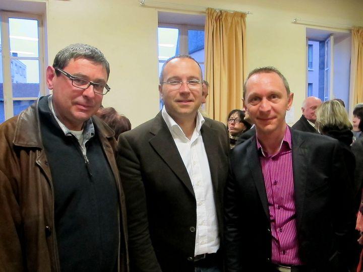 e gauche à droite, Bruno, militant depuis 1988, Laurent Lafaye, premier secrétaire fédéral et Stéphane, militant depuis 2003. (THOMAS BAIETTO / FRANCETV INFO)