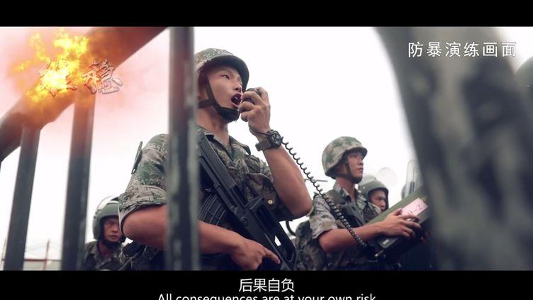 Capture d'écran de la vidéo diffusée par l'Armée populaire de libération (APL) mercredi 31 juillet. (HANDOUT / CHINA'S PEOPLE'S LIBERATION ARMY / AFP)